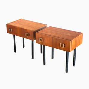 French Teak Nightstands with Metal Handles, 1960s, Set of 2