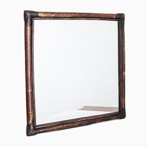 Französischer Spiegel mit Rahmen aus Rattan, 1960er