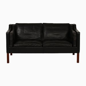 Model 2212 Walnut & Black Leather Sofa by Børge Mogensen for Fredericia, 1975
