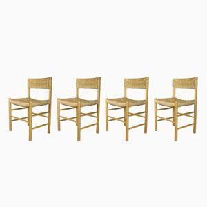 Modell Dordogne Stühle mit Sitz aus Strohgeflecht von Sentou, 1960er, 4er Set