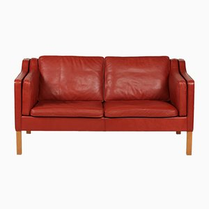 Model 2212 Oak & Brick Red Leather Sofa by Børge Mogensen for Fredericia, 1985