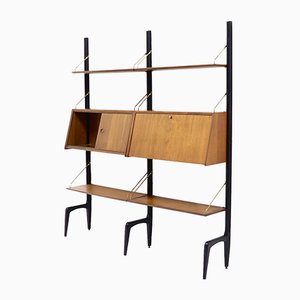 Mid-Century Teak Wall Unit by Louis van Teeffelen for WeBe, 1950s