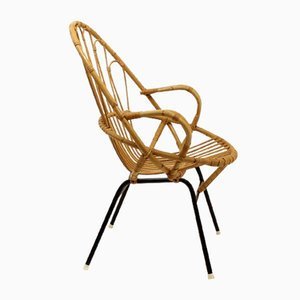 Ovaler Mid-Century Stuhl aus Korbgeflecht