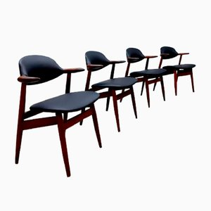 Vintage Dutch Cow Horn Chairs by Tijsseling for Hulmefa Nieuwe Pekela, 1950s, Set of 4
