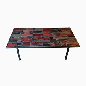 Ceramic, Slate & Chrome-Plated Metal Coffee Table by Pia Manu, 1960s