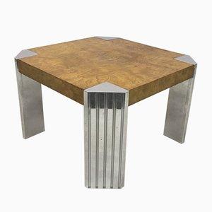 Mesa vintage de cromo y madera nudosa de Milo Baughman