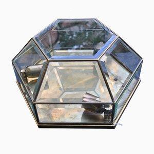 Wandlampe aus Messing & geschliffenem Kristallglas, 1950er