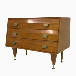 Mid-Century Italian Sycamore and Brass Chest of Drawers