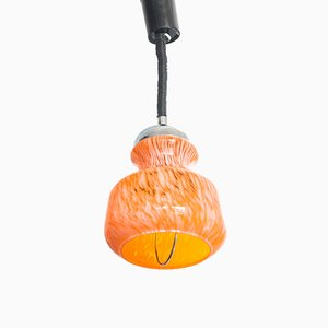 French Chromed Metal & Murano Glass Pendant Lamp, 1970s