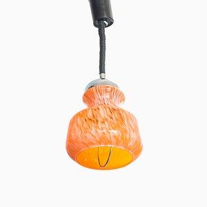 Lámpara colgante francesa de metal cromado y cristal de Murano, años 70
