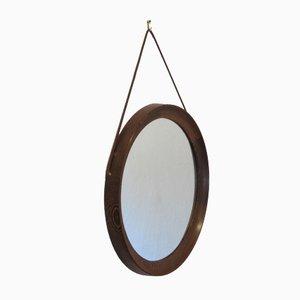 Specchio da parete rotondo vintage in wengé di Uno & Osten Kristiansson