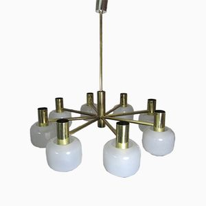 Vintage Brass & Opaline Glass 8-Arm Chandelier from Staff, 1960s