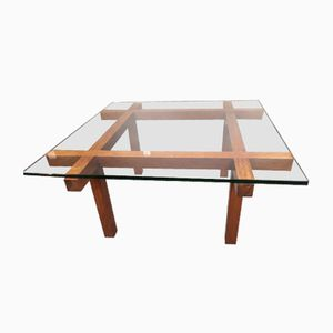 Glass & Rosewood Coffee Table by Alfred Hendrickx for Belform, 1960s
