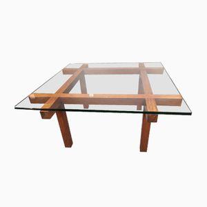 Table Basse en Verre et Palissandre par Alfred Hendrickx pour Belform, 1960s