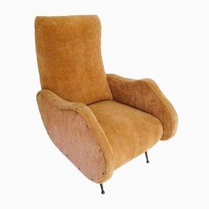 Vintage Velvet Armchair by Marco Zanuso, 1950s