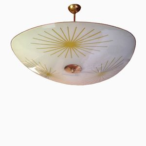 Mid-Century Brass and Opal Glass Pendant Lamp