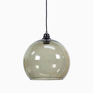 Lampada sferica in vetro grigio, anni '70