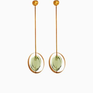 Mid-Century Brass and Green Murano Glass Pendants by Max Ingrand for Fontana Arte, Set of 2
