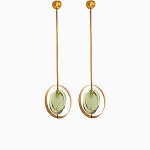 Mid-Century Hängelampen aus Messing und grünem Muranoglas von Max Ingrand für Fontana Arte, 2er Set