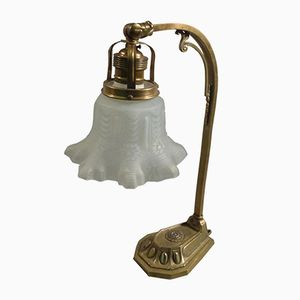 Lámpara de mesa húngara Secession de latón, años 30