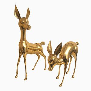 Vintage French Deer Sculptures from Superbrass, 1970s, Set of 2