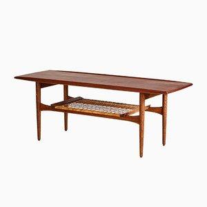 Mid-Century Teak Coffee Table with Wicker Shelf, 1960s