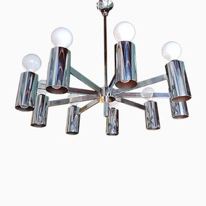 Large Vintage Italian Steel Chandelier