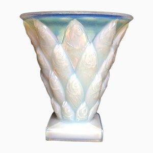 Vaso Mid-Century in vetro opalescente di Sabino Marius per Sabino