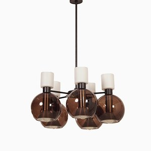 Glass Chandelier with Five Globes from Raak, 1960s