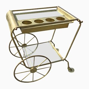 Italian Brass Serving Bar Cart, 1970s