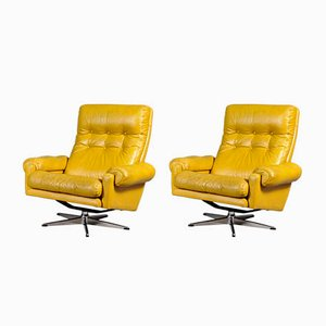 Vintage Swedish Swivel Lounge Chairs from Lystolet, 1974, Set of 2