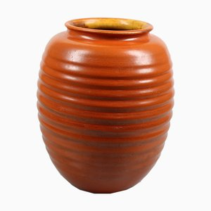 Dutch Orange Vase from Mobach Utrecht, 1930s