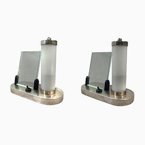 Lámparas de mesa húngaras Art Déco de vidrio opalino con