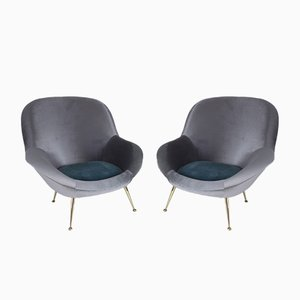 Mid-Century Italian Velvet Armchairs from ISA Bergamo, 1950s, Set of 2