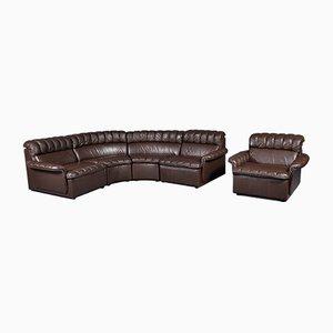 Vintage Modular Brown Leather Sofa and Armchair, 1980s