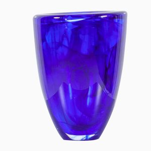 Vaso Mid-Century in vetro di Murano blu cobalto di Kosta Boda, anni '60