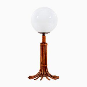 Lampada da tavolo o da terra Art Déco in vimini e vetro lattimo, anni '60