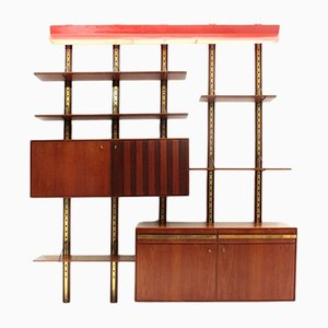 Mid-Century Wall Unit with Red Overhead Lamp, 1950s