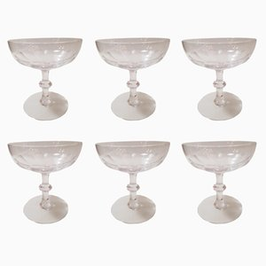 Antique Crystal Champagne Glasses from Baccarat, Set of 6