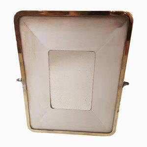 Specchio in ottone e metallo cromato, anni '30