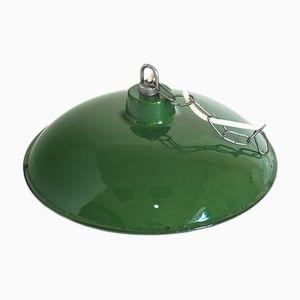 Lámpara colgante francesa industrial de hierro esmaltado, años 60
