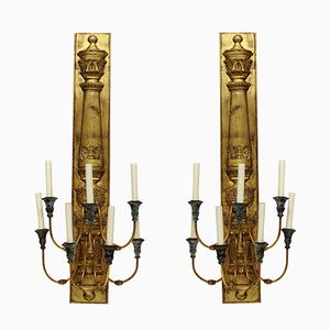 Large Vintage Gilt Metal Empire Style Sconces, 1960s, Set of 2