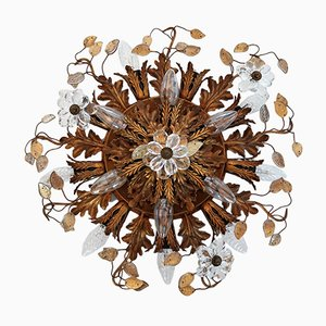 Italian Florentine Gilded Ceiling Lamp with Glass Blossoms from Bancy, 1950s