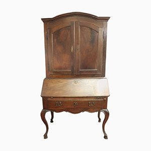 Antique Walnut Bookcase with Secretaire, 1710s