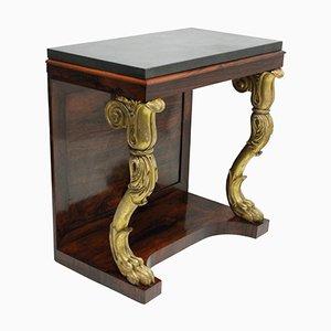 Consolle Regency antica in palissandro e legno dorato