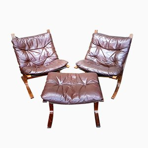 Vintage 2 Siesta Chairs & Ottoman by Ingmar Relling for Westnofa, 1970s