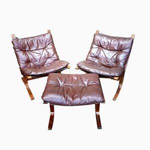 Vintage 2 Siesta Stühle & Fußhocker von Ingmar Relling für Westnofa, 1970er