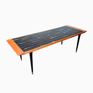 Black Glass and Teak Coffee Table, 1950s