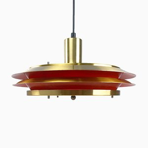 Golden Brass Ceiling Light from Lyskaer, 1960s