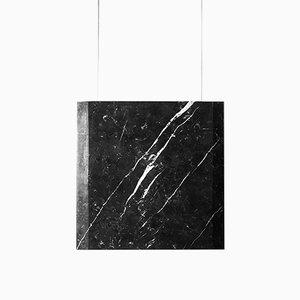 Lampada da soffitto Werner Sr. in marmo Marquinia con struttura nera di Andrea Barra per [1+2=8], 2017